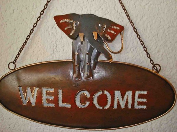 Welcome Schild Elefant